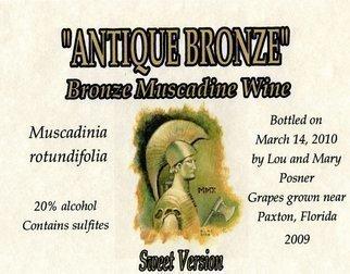 Lou Posner Artwork Antique Bronze muscadine wine sweet version label, 2010 Other Printmaking, Vintage