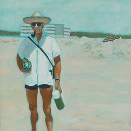 Lou Posner: 'Armed for the Beach', 1983 Oil Painting, Beach. Artist Description:   My dad was a scoutmaster for 25 years.  He was always prepared.  Especially for the beach!  ...