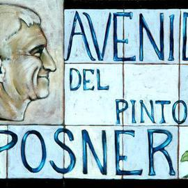 Lou Posner: 'Avenida del Pintor Posner', 2004 Oil Painting, Portrait. Artist Description:    One day a street will be named after me.  I thought that I would enjoy the honor NOW, while I am still alive, rather than wait until I am rotting in the ground.  This sign is modeled on the one for the great German poet, Rainer Maria Rilke, ...