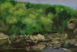 Lou Posner: 'Bend in the River', 1987 Oil Painting, Landscape. The Farm River, East Haven, Connecticut. Trout in there. . . believe it or not. . . White strip frame. ...