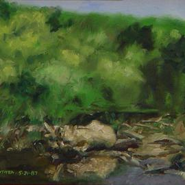 Lou Posner: 'Bend in the River', 1987 Oil Painting, Landscape. Artist Description: The Farm River, East Haven, Connecticut. Trout in there. . . believe it or not. . . White strip frame. ...
