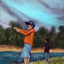 Lou Posner: 'Boys Fishing', 2004 Oil Painting, Children. Artist Description: Boys fishing in Florida....