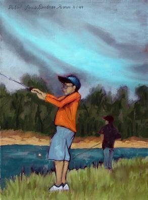 Lou Posner: 'Boys Fishing', 2004 Oil Painting, Children. Boys fishing in Florida. ...