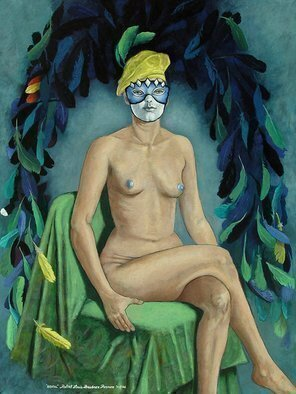 Lou Posner: 'Brasil', 2006 Oil Painting, Mask. My vision of an allegorical Brazil.  Feathers have always been a part of Brazilian indigenous culture.  I was also inspired by the colors and design of the Brazilian flag and the sensuality of Carnaval parades.  Eu creo que talvez eu estou em parte Brasileiro, Carioca, Amerioca...
