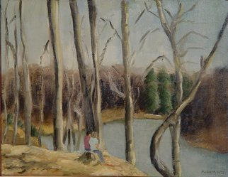 Lou Posner: 'Bryants Creek Lake', 1978 Oil Painting, Landscape.  I was painting this stump at Bryant' s Creek Lake near Bloomington, Indiana, when this young couple wandered into the scene. I included them. ...