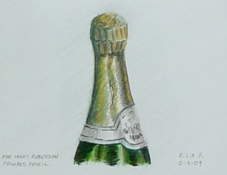 Pencil Drawing by Lou Posner titled: Champagne Bottle, created in 2009