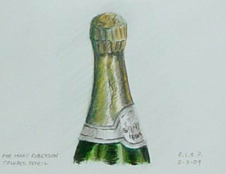Pencil Drawing by Lou Posner titled: Champagne Bottle, 2009