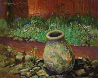 Artist: Lou Posner - Title: Concrete Urn at TC Steele Memorial - Medium: Oil Painting - Year: 2001