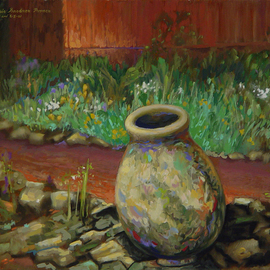 Lou Posner: 'Concrete Urn at TC Steele Memorial', 2001 Oil Painting, Landscape. Artist Description:  Painted outdoors at an Indiana Plein Air Painters' paint- out at the T. C. Steele Memorial home and studio in Nashville, Indiana. ...