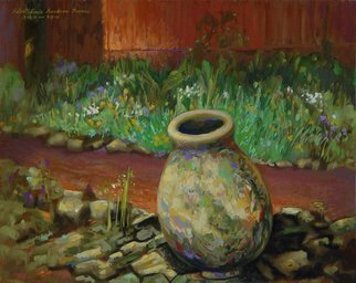 Lou Posner: 'Concrete Urn at TC Steele Memorial', 2001 Oil Painting, Landscape.  Painted outdoors at an Indiana Plein Air Painters paint- out at the T.  C.  Steele Memorial home and studio in Nashville, Indiana. ...