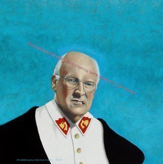 Lou Posner: 'Dick Cheney The Dominatrix Entered His Office with Complete Confidence', 2007 Oil Painting, Political.  This painting is unsigned.  It is incscribed, UNSIGNED ( OUT OF FEAR FOR MY LIFE. ) ...