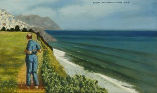 Lou Posner: 'Doc Theo Remembers Greece', 1998 Oil Painting, Ethereal.  Doc Theo ( psychiatrist) strolls the palisades at his Palos Verdes, California, estate and remembers his homeland, Greece, pictured in the distance.   ...
