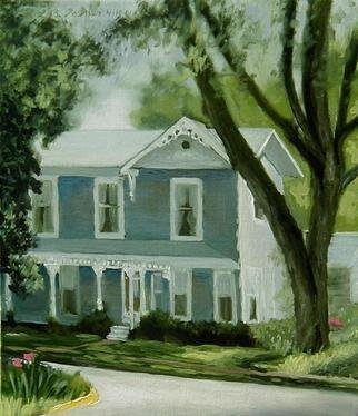 Lou Posner: 'Dr George Rapp Family Home Church Street New Harmony Indiana', 2001 Oil Painting, Americana.   Indiana art mogul, George Rapp' s birthplace, New Harmony, Indiana.  ...