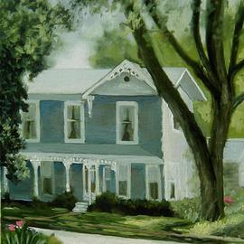 Lou Posner Artwork Dr George Rapp Family Home Church Street New Harmony Indiana, 2001 Oil Painting, Americana