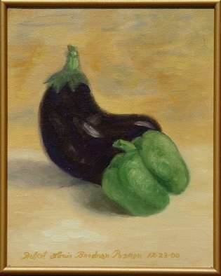 Lou Posner: 'Eggplant and Green Pepper', 2000 Oil Painting, Still Life. Vegetables in motion.  Oil on canvas board.  Custom frame is wood with gold tone. ...