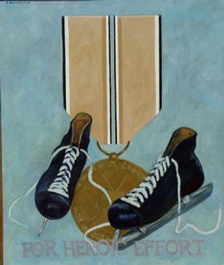 Lou Posner: 'For Heroic Effort', 1988 Oil Painting, Military. One of a series of paintings honoring footwear with imaginary military decorations....