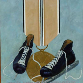 Lou Posner: 'For Heroic Effort', 1988 Oil Painting, Military. Artist Description: One of a series of paintings honoring footwear with imaginary military decorations....