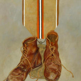 Lou Posner: 'For Honorable Service', 1987 Oil Painting, Military. Artist Description: One of a series of paintings honoring footwear with imaginary military decorations....