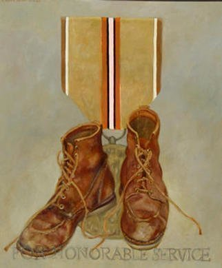 Lou Posner: 'For Honorable Service', 1987 Oil Painting, Military. One of a series of paintings honoring footwear with imaginary military decorations....