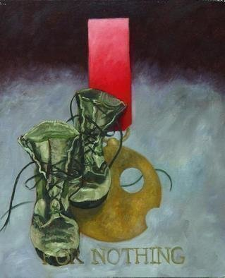 Lou Posner: 'For Nothing', 2003 Oil Painting, Military. One of a series of paintings honoring footwear with imaginary military decorations.  See others in this series here on other pages....