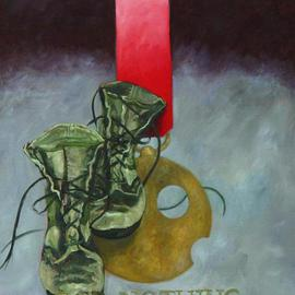Lou Posner: 'For Nothing', 2003 Oil Painting, Military. Artist Description: One of a series of paintings honoring footwear with imaginary military decorations.  See others in this series here on other pages....