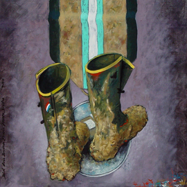 Lou Posner: 'For the American Dream', 2011 Oil Painting, Zeitgeist. Artist Description:  These are the same boots featured in the painting, Muddy Boots but integrated into the foot- wear- and military- medal series of paintings.  Home ownership IS the American Dream, but is actually the American Nightmare.  Ask anyone.The colors in the ribbon of the military- style medal reflect ...