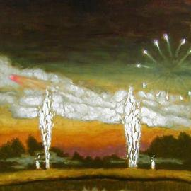 Lou Posner: 'Fourth of July Fireworks', 2001 Oil Painting, Americana. Artist Description: A local doctor used to put on a very large Fourth of July fireworks display at his farm for hundreds of local residents. ...