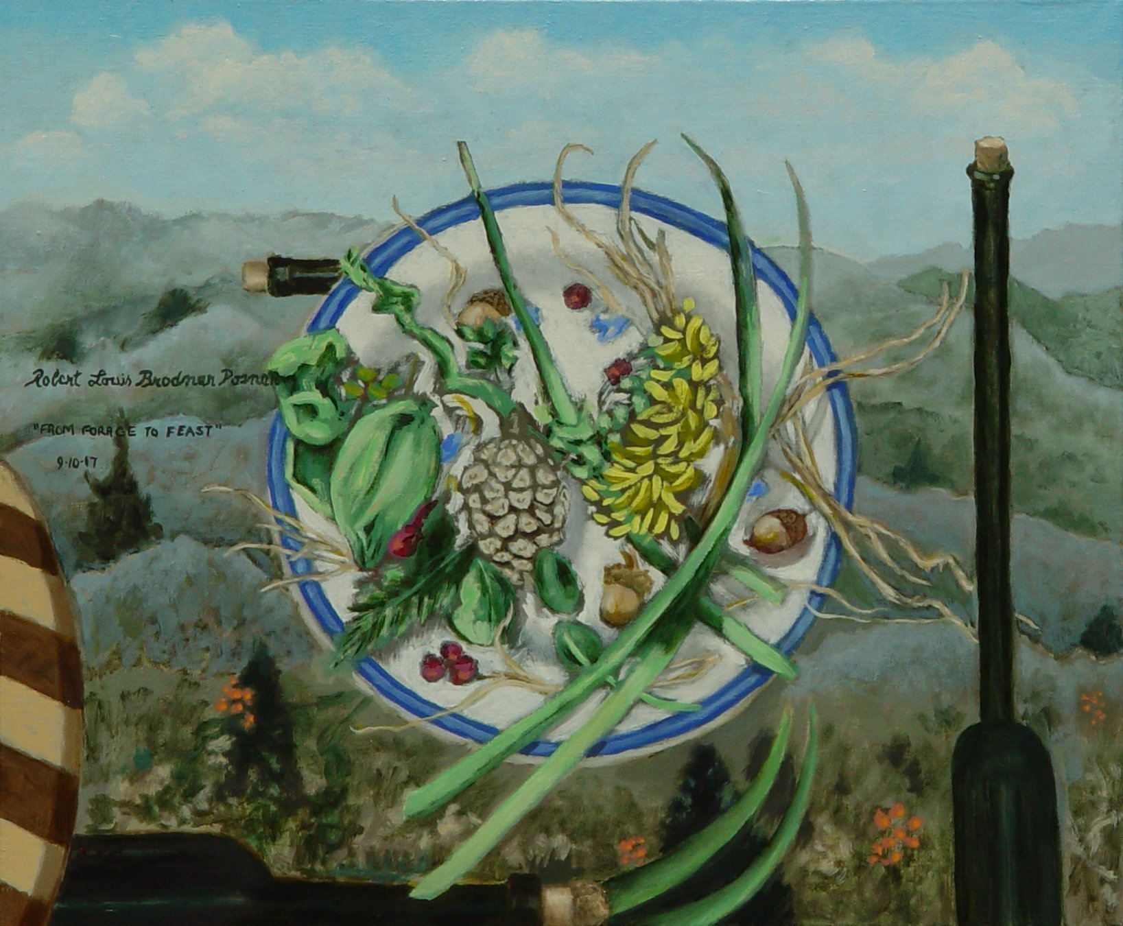 Lou Posner: 'From Forage to Feast', 2017 Oil Painting, Food. Artist Description: Local forage from Perry County, Indidna, melded with bottles of wine and olive oil against a landscape of the Blue Ridge Parkway near Asheville, North Carolina. Oh, and a cutting board to prepare the meal. ...