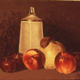 Lou Posner Artwork Fruit with Schissel, 1972 Oil Painting, Food