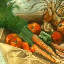 Lou Posner: 'Garden Harvest', 1979 Oil Painting, Still Life. Artist Description: The produce from our garden in Portland, Connecticut, on a brown paper bag, still warm and dirt- caked. [ SOLD 8- 8- 01]...