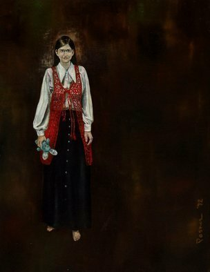 Lou Posner: 'Girl in Crocheted Vest', 1972 Oil Painting, Beauty. Artist Description:  A portrait of my wife, early in our relationship.  She crocheted the vest herself. ...