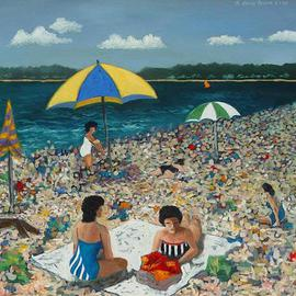 Lou Posner: 'Hammonasset Beach on Sunday', 1984 Oil Painting, Americana. Artist Description: So. . . there I was with my easel on the beach in Connecticut surrounded by all these rapt kids when one of them asked me to put him into the painting.  I looked at his swimsuit, dipped my brush into some green paint and put a dab on the ...