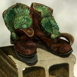 Lou Posner: 'Hens and Chicks in Boots', 1995 Oil Painting, Still Life. Artist Description: Working on his farm, raising cattle, a guy goes through lots of pairs of boots.  What to do with old boots?  Plant hens and chicks in them!  The style is one of hatching, combining drawing techniques with those of painting ( see Description for Hilgenhold' s Shed I. )...