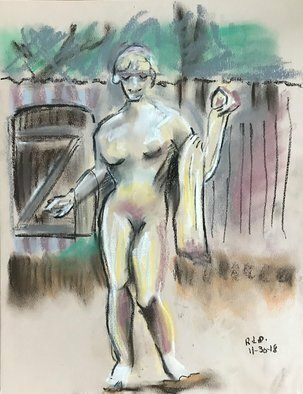Lou Posner: 'Hibiscus sculpture garden', 2019 Pastel, Nudes. One of the sculptures in the Hibiscus B B sculpture garden in Grayton Beach, Florida, late on an overcast day in late November, 2018.  Time was running out, but I got it done.  Pastel chalk on Stathmore Pastel paper, no matte, no fixative, no glass, no frame. ...