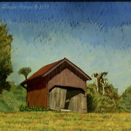 Lou Posner: 'Hilgenhold Shed I', 1995 Oil Painting, Farm. Artist Description:  A second view of this shed.  In the collection of the late Dr.  Gene Ress, formerly of Tell City, Indiana.  ...