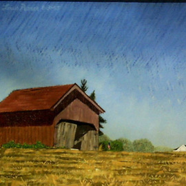 Lou Posner: 'Hilgenhold Shed II', 1995 Oil Painting, Farm. Artist Description:  This shed, now torn down, stood on the property of a notable family in my rural neighborhood. This particular intersection of country roads was once the center of the town of Gatchel, Indiana, and boasted a cobbler shop and a blacksmithy, according to local legend. Part of the ...