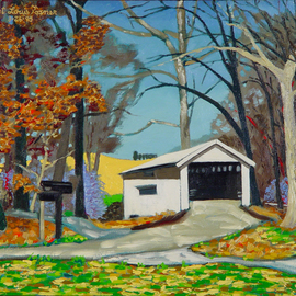 Lou Posner: 'Huffman Mill Bridge', 1995 Oil Painting, Americana. Artist Description:  This historic covered bridge near Huffman, Indiana, is at the site of the Huffman Mill, where Abraham Lincoln and his father, Thomas, brought their corn to be ground.  The Lincolns would sleep- over in a cabin out in a field directly to the right in the painting.  I ...
