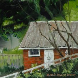Lou Posner: 'In the Alley', 2001 Oil Painting, Landscape. Artist Description: From the gazebo in New Harmony, IN, part of IPAPA paint- out...