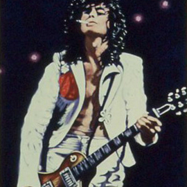 Lou Posner Artwork Jimmy Page of Led Zeppelin, 1984 Oil Painting, Music
