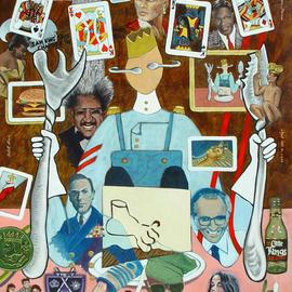 Lou Posner: 'Kings', 2005 Oil Painting, Americana. Artist Description: The title should be self- explanatory. A Kings II painting is planned to contain one queen. Try to find as many kings as you can. Note the portrait of the King of Pop, Michael Jackson at lower right. ...