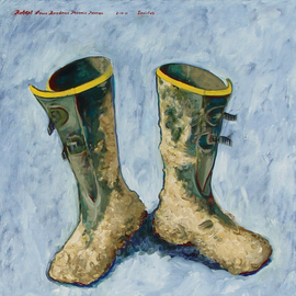 Lou Posner: 'Muddy Boots', 2011 Oil Painting, Zeitgeist. Artist Description:  On Dec. 16, 2010, while helping my wife scrape ice off her car windshield, I slipped on black ice and put most of my back muscles into a spasm that had me having to sit up in order to sleep for months plus seven months worth of excruciating ...
