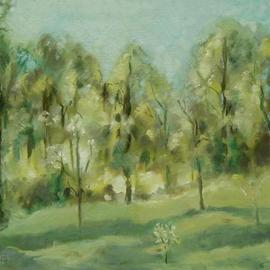 Lou Posner: 'Owen County Landscape', 1977 Oil Painting, Landscape. Artist Description: Owen County, Indiana.                             Owen County, Indiana.                                    ...