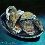 Oysters Shells on Silver Salver By Lou Posner