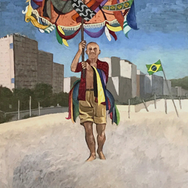 Lou Posner: 'Picasso on Copacabana Beach', 2020 Oil Painting, Famous People. Artist Description: Picasso visits Copacabana Beach, Brazil, bringing a New Year s gift of color and delight which sparks joy. ...