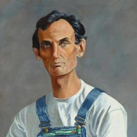 Lou Posner: 'Portrait of Abe Lincoln in Bib Overalls', 1998 Oil Painting, Portrait. Artist Description: No. 4 in the bib overalls series. Signed on Aug. 31, 1998. Spent boyhood years down the road from here.  Author of the Gettysburg Address. See second version of Abe....