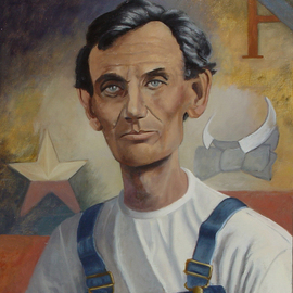 Lou Posner: 'Portrait of Abraham Lincoln in Bib Overalls', 2006 Oil Painting, Portrait. Artist Description: This painting, No. 13 in the bib overalls series, is available as an 8x10 color inkjet print on heavyweight matte paper from the Lincoln Boyhood Memorial at the Lincoln Ampitheater in Indiana.  Please contact Ann Vogel of the Committee at telephone ( 812) 544- 2033 for more details. The ...