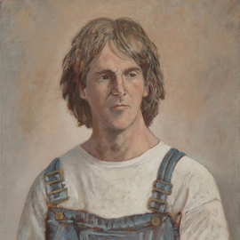 Lou Posner: 'Portrait of Blake Cook in Bib Overalls', 2006 Oil Painting, Portrait. Artist Description: No. 11 in the bib overalls and white T- shirt series begun in 1994.  Signed on June 27, 2006.  Blake is an artist, college art professor ( life drawing, painting) , a performance/ installation artist, gallery director, photographer, jazz afficionado, shower- meister. ...