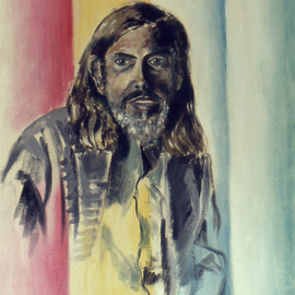 Lou Posner: 'Portrait of Dr John J  Mood', 1972 Oil Painting, Portrait. Artist Description:  This oil portrait was done early in my art life, Aug. 26, 1972, only 15 months after I began to paint.  It was done in four hues: a red, a yellow, a blue and a green.  The exact same four pigments were used for the same- sized portrait ...