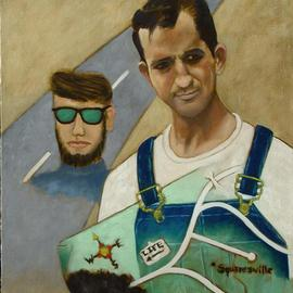 Lou Posner: 'Portrait of Jack Kerouac in Bib Overalls', 2004 Oil Painting, Americana. Artist Description: No. 10 in the bib overalls and white T- shirt series begun in 1994. Signed on Dec. 9, 2004. A portrait of the famed beatnik writer and poet in bib overalls combined with a pastel drawing of mine done at age 19, before I was really an artist.  ...