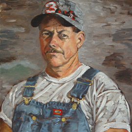 Lou Posner: 'Portrait of James Houston Smith in Bib Overalls', 1999 Oil Painting, Portrait. Artist Description:  No. 6 in the bib overalls and white T- shirt series. Retired overhead crane operator; high school volunteer ( weight- room coach; football team equipment manager; volleyball team bookkeeper) ; boater, outdoor grill chef, landscaper.  Signed on July 1, 1999. ...